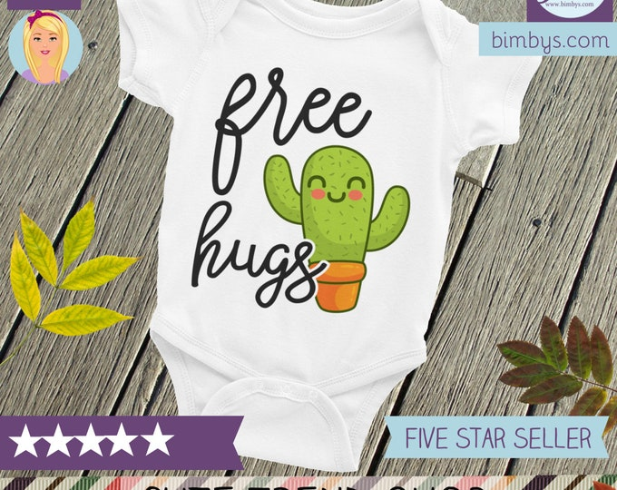 Cute Cactus Free Hugs Baby Bodysuit , Cute Baby Nappy | Funny Baby Outfit | Cute Baby Clothes,  Cactus Snapsuit, Cactus Bodysuit, Creeper