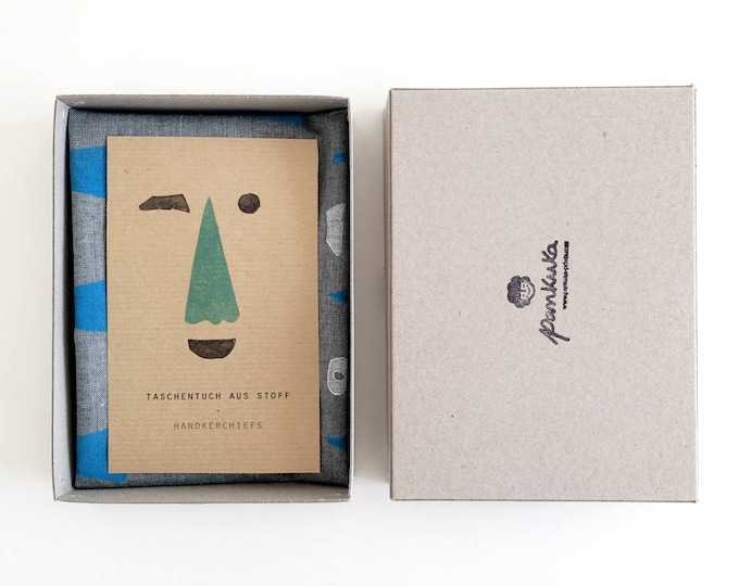 Nose Face // Hand-printed Organic Handkerchief, Taschentuch