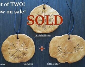 SALE! TWO wall plaques; Óttastafur + Vegvísir (Icelandic runes, magical staves, Ásatrú, vikings)