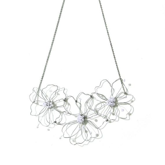 Wire Flower Necklace Big Flower Statement Necklace Silver