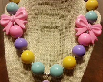 Thanksgiving Turkey Chunky Necklace (Pastel colors)