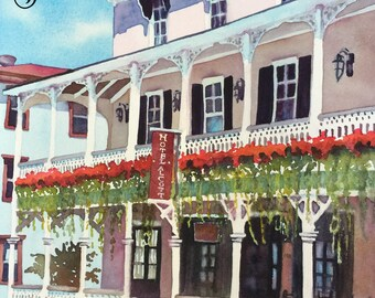 Cape May The Hotel Alcott - Cape May New Jersey - Hand Signed Archival Watercolor Print Wall Art by Brenda Ann
