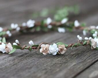 Earth Tone Wedding Flower Crown, Floral Crown, Rustic Wedding Crown, Garland Hair Wreath, Ivory Floral, Barn Wedding, Flower Girl Crown Halo