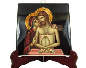 Christian art - Piety icon on ceramic tile - Christian gifts - inspired by an orthodox icon - Extreme Humility icon - christian icon - Jesus