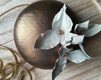 Gold leather headpiece, golden leather fascinator, bridal headpiece with leather flowers
