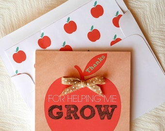 Apple Teacher Appreciation Card . Thanks For Helping Me Grow Card . Teacher Card . Teacher Gift . Card for Teacher . End of School Card