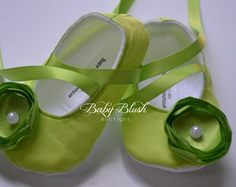 Lime Green Baby Shoes - Soft Ballerina Slippers Baby Booties
