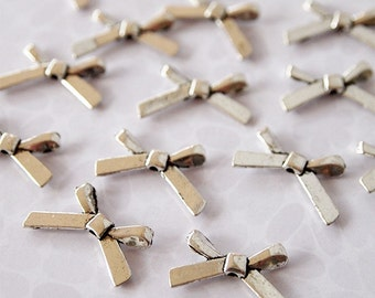 10 Metal Bow Beads Charms Antique Silver Tone Size 11 x 20mm