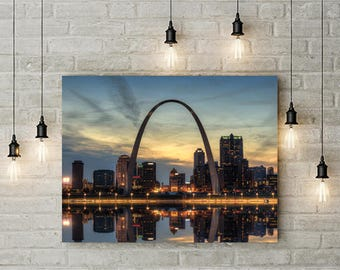 St. Louis Skyline Photo, Saint Louis Print, St. Louis Sunset, Gateway Arch, St. Louis Arch, Downtown Skyline