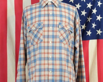 1980's Vintage Levi's Western Shirt // Cowboy Shirt // Retro Style Western Wear // Long Sleeved Button Up // Checked Shirt // Men's Size L