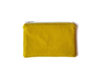 small zipper pouch / yellow zipper pouch / vegan pouch / minimalist coin pouch / money pouch / coin purse / vegan purse / zero waste purse