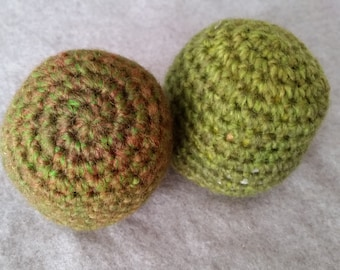 Set of 2 Moss Green Wool Blend Yarn Crocheted Cat Toy Balls with Catnip