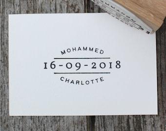 Personalised wedding date stamp