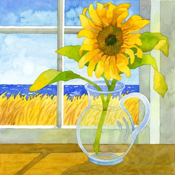 Sunflower Beach Cottage Still Life Seascape in Window