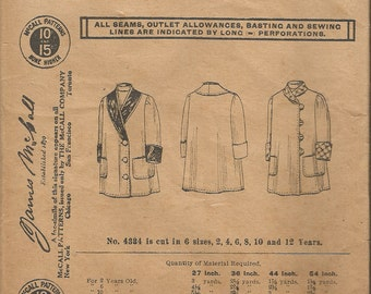 Antique 1908 McCall 4334 Child's Coat With Shield Sewing Pattern Size 6 years UNCUT