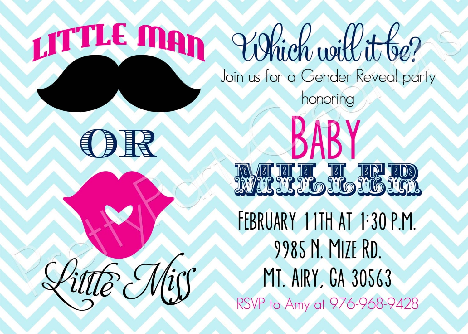 Little MAN or Little MISS Gender Reveal invitation YOU Print