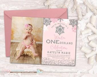 Winter ONEderland Birthday Invitation, Winter Birthday Invitation, Snowflake Birthday Invitation, Winter Onderland Invitation, ONEderland