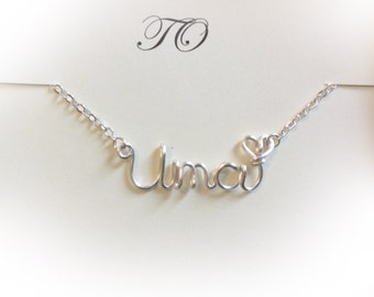 Name Necklaces,Uma necklace,Personalized wedding jewelery,Birthday gift,Bridesmaid necklace,Custom Name necklace