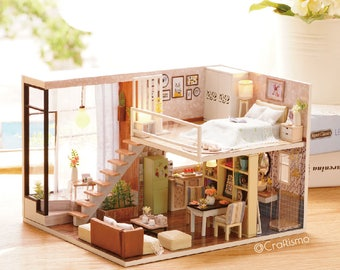 1: 24 DIY Miniature Dollhouse Kit Waiting for the Time Loft Studio Room Cute House with Light and Music Box