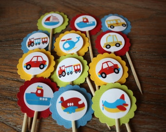 Transportation / Vehicle Themed Cupcake Toppers (Cars, Trains, Planes, Boats, Etc.)-Color Theme of Red, Blue, Yellow and Green - Set of 12