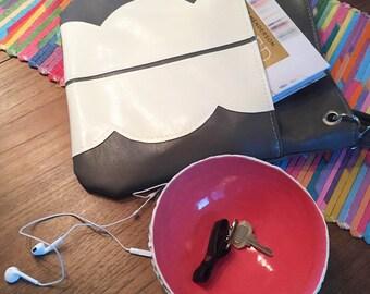 Vegan Leather Tote Bag, Ready To Ship, Grey, Large Cross Body Bag, Faux Leather Handbag, Vintage Fabric Handbag, Adjustable Strap