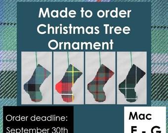 Mini tartan stocking decoration, Tartans including MacEwan, MacFarlane, MacGill, MacGillvray, MacGregor, Rob Roy