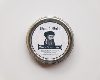 John Knox Beard Balm Naturally Scented with Spearmint Essential Oil Reformer Biblical Beard Balms Theologian Series One Ounce Screw Top Tin