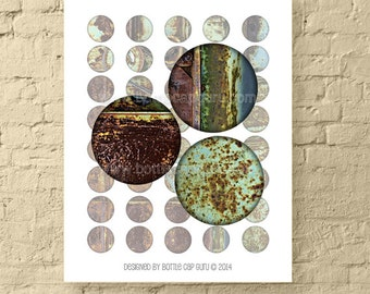 Rusty Metal 1 Inch Circles / Printable Abstract Bottle Cap Images in Blues and Browns / Digital Collage for Crafts // Instant Download