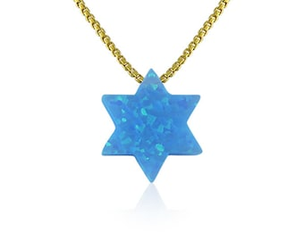 Star of David Opal Necklace on a Fancy .925 Sterling Silver Chain • 7 Chain Lengths and 2 Chain Styles • The Perfect Jewish Gift For Her