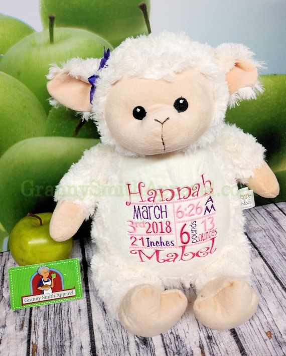 "Lamb 14"" custom designed / embroidered tummy on this plush stuffie lovie.  Personalized for the occasion that you have in mind. Great gift!"
