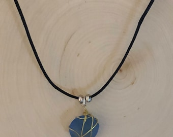 Wired Wrapped Sea Glass Necklace