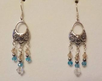 Blue and Clear Swarovski Crystal Chandelier Earrings