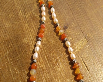 Chinese Carnelian and Champagne Freshwater Pearl Necklace with Sterling Silver Bali Beads - Sale