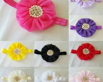 Chiffon ruffled flower with pearl center on foe headband