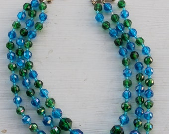 Vintage 1960's Triple Strand Blue And Green Faceted Bead Necklace