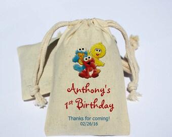 Baby Sesame Street Cotton Muslin Bag - Party Favor Bag