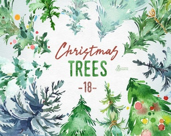 Christmas Trees. 18 Watercolor holiday clipart, conifers, decorations, handpainted, floral, forest, invite, holly, merry, green, greetings
