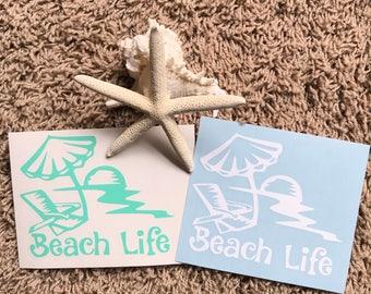 Beach life decal or Iron-On/Car/sun/chair/parasol/summer/T-shirts/gym/pants/cups/make up/bag/DIY/