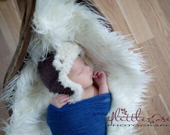 Hand knit earflap baby hat newborn photo prop taupe brown cream white faux fur aviator lumberjack bomber neutral boy girl unigender