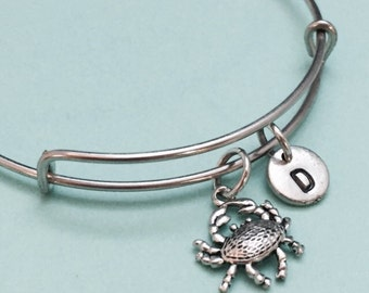 Crab bangle, crab bracelet, crab charm, personalized bracelet, expandable bangle, charm bangle, initial bracelet, monogram