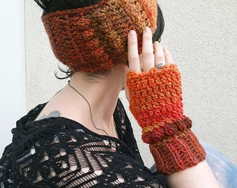 Fall finery mittens + crochet headband