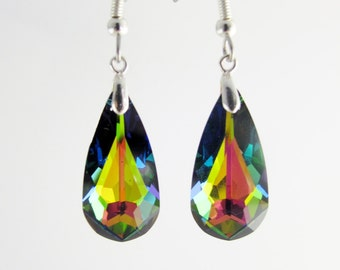 Swarovski Crystal Kaleidoscope Drop earrings monted on Sterling Silver 925 with surgical steel hooks, Swarovski long drop crystal earrings