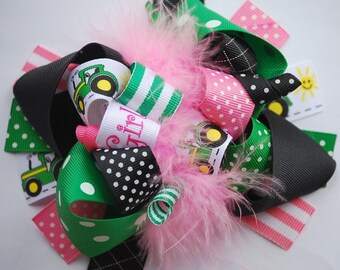 boutique FUNKY fun TRACTOR GIRL hair bow clip