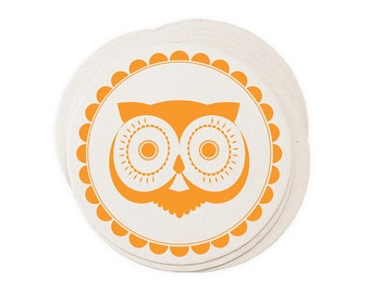 Eco Coasters Retro Owl Letterpress - Vintage Orange Recycled