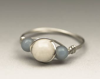 White Moonstone & Angelite Gemstone Sterling Silver Wire Wrapped Ring - Made to Order, Ships Fast!