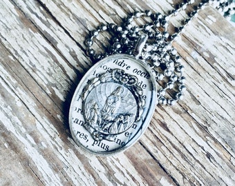 St Mary Vintage French Medal Necklace, Religious Necklace, Prayer Necklace in Silver Pewter