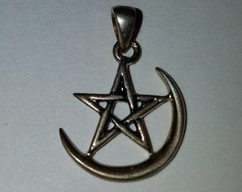 Sterling Silver Crescent Moon Pentagram Pendant