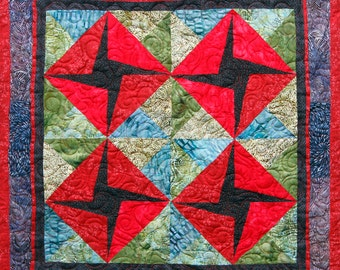 Quilt Wallhanging Vibrant Colors, Handmade in USA