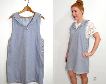 Striped Jumper Dress  - Nautical Dress - Denim Jumper - Denim Dress - Railroad Striped Dress
