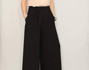 Wide leg pants women Black pants with pockets Office wear High waisted pants  women trousers